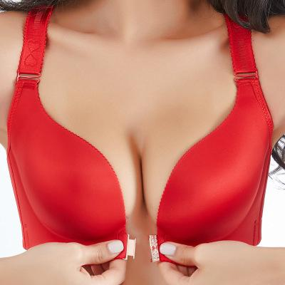 Butterfly Wireless Front Closure Push Up Bra FONSANY BIG RED 36/80CDE