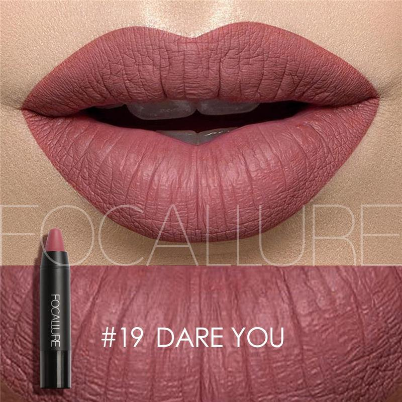 FOCALLURE 19 Colors Matte Lipsticks Crayon Swatch Fonsany Colour 19