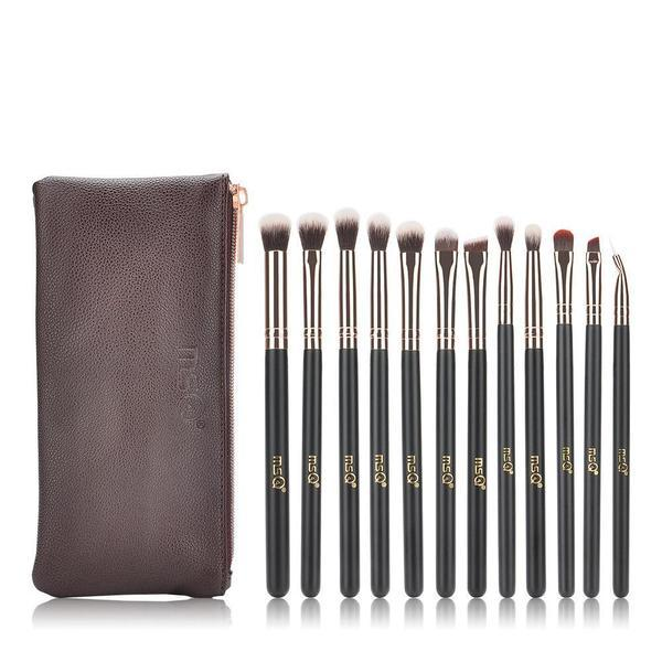 Natural Wood Eye Makeup Brushes Makeup Brush fonsany Brushes+bag-STB12rg