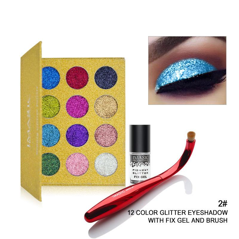 Rainbow Unicorn™ Glitter Eyeshadow Palette Eye Shadow Fonsany 2#+brushes+gel