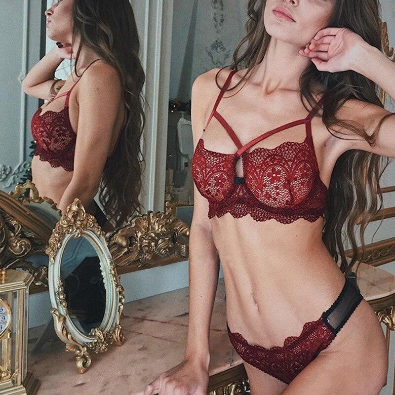 Sexy Bra Lace TransparenLingerie Set Bra Dream Fiona Red M