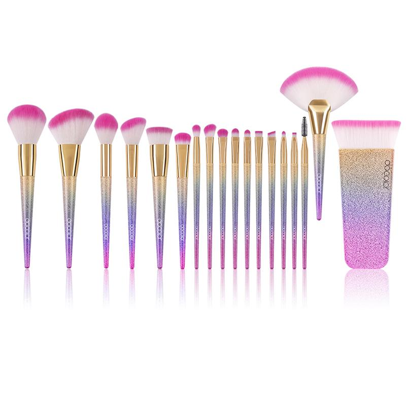 Soft Colorful Gradient Makeup Brushes Sets/ 18PCS Makeup Brushes fonsany