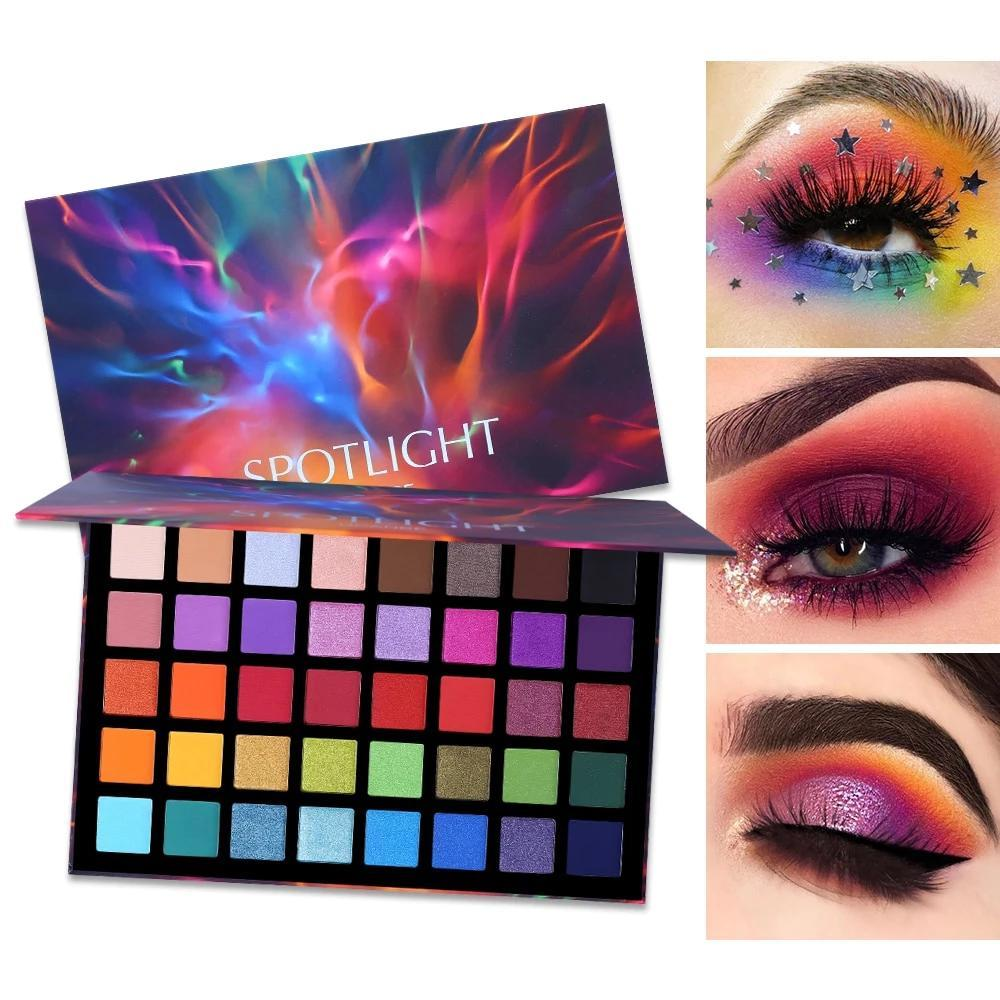 Spotlight 40 Color Colorful Artist Shimmer Eye Shadow Palette Fonsany