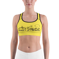 POM Yellow Sports Bra - Black Print