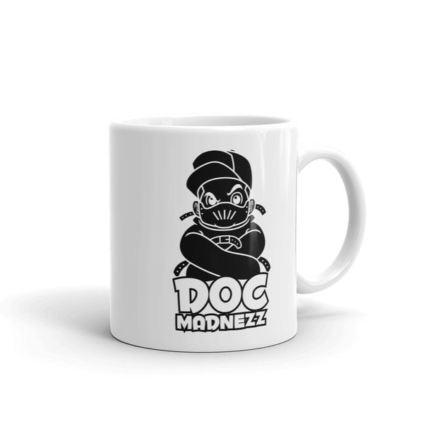 Doc Madnezz White Mug - Black Doc Madnezz Logo