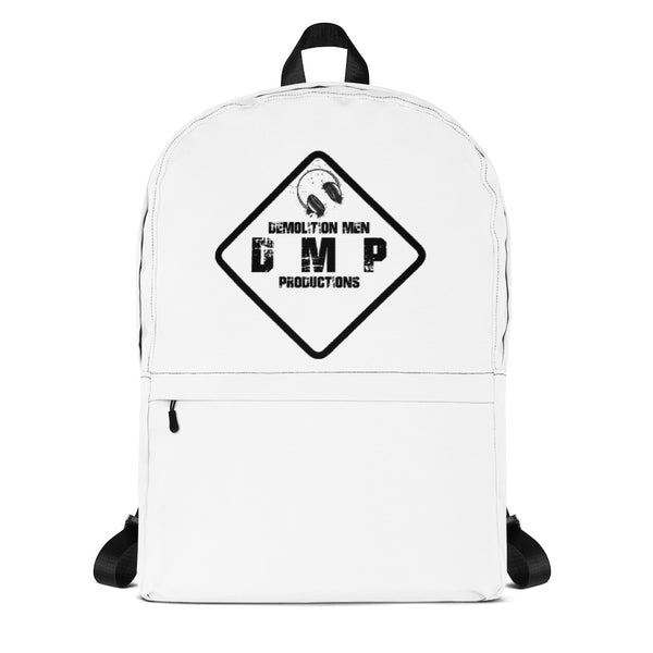 DMP White Backpack - Black Sign Logo