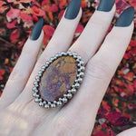 GEMSTONE Moroccan Seam Agate Large Oval Ring: Size 9