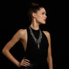 METAL V, Rosette, Draping Chain & Fringe Necklace
