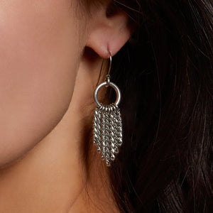 METAL Tapered Chain on Ring Earrings