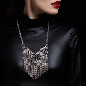 METAL Welded V, Maille, Disk & Fringe Necklace