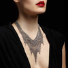 SLINKY Shaped Fringe Necklace with Criss-Cross Chain