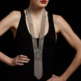 SLINKY Long Hexagon Fringe Necklace