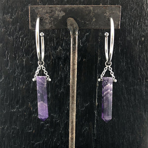 GEMSTONE Amethyst Crystal Drop Earrings
