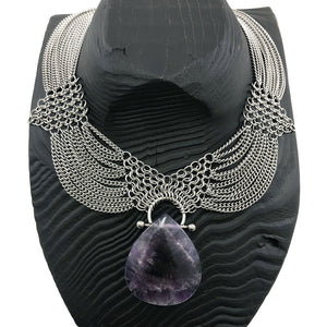 GEMSTONE Amethyst Pendant on SLINKY Draping Chain