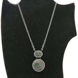 GEMSTONE Black Mother of Pearl Double Stone Pendant