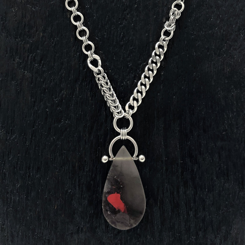 GEMSTONE African Bloodstone Teardrop Necklace