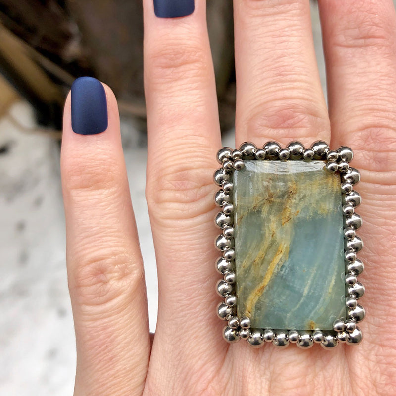 GEMSTONE Blue Calcite Ring