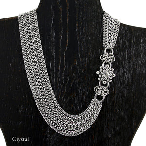 CAGED Asymmetrical Chrysanthemum and Draping Chain Necklace