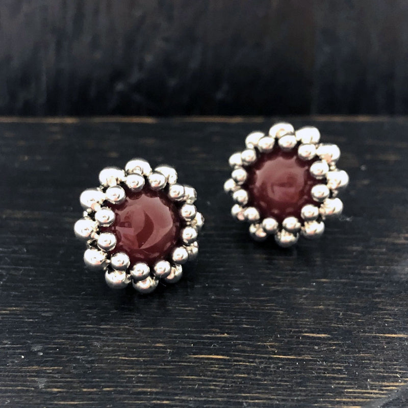GEMSTONE Carnelian Button Post Earrings