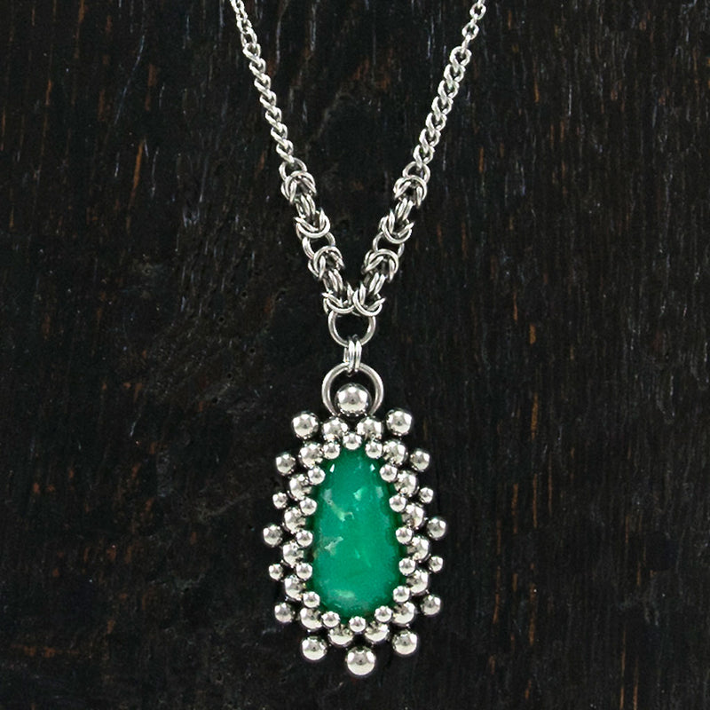 GEMSTONE Chrysoprase Teardrop Burst Pendant