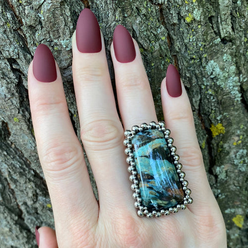 GEMSTONE Clear Creek Plasma Agate Ring: Size 9
