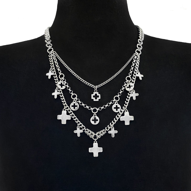 ROGUE Tiered Crosses Necklace