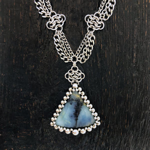 GEMSTONE Triangle Dendritic Peruvian Blue Opal Necklace