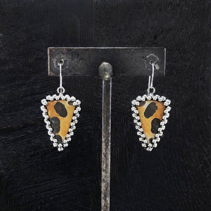 GEMSTONE Triangular Chert Breccia Earrings
