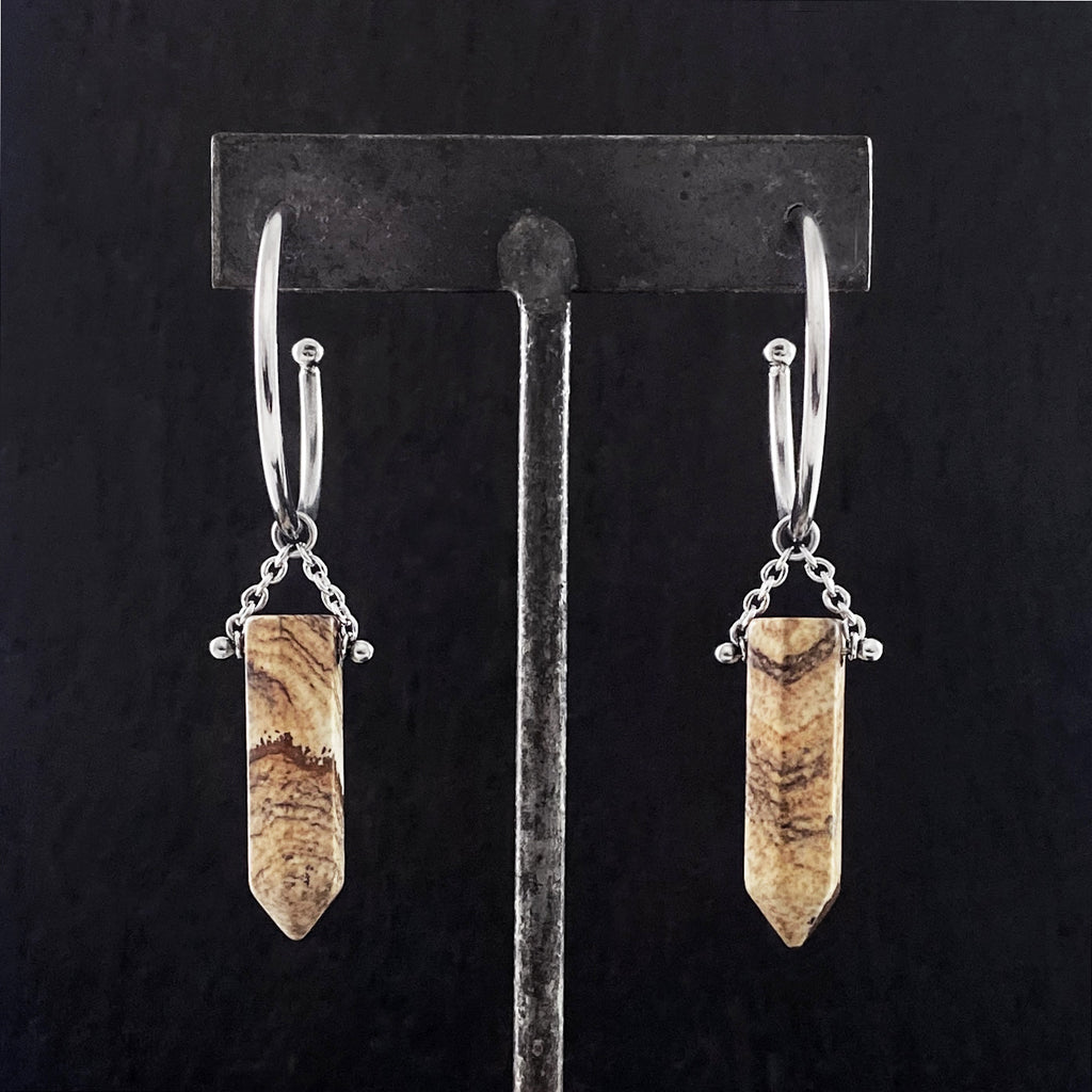 GEMSTONE Picture Jasper Point Drop Hoop Earrings