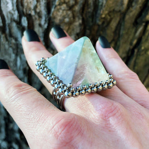 GEMSTONE Fluorite Pyramid Ring: Size 9-9.25