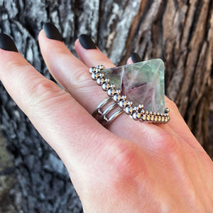 GEMSTONE Fluorite Pyramid Ring