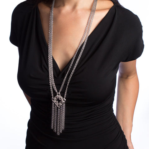 GOTHIC Long Diamond and Fringe Necklace