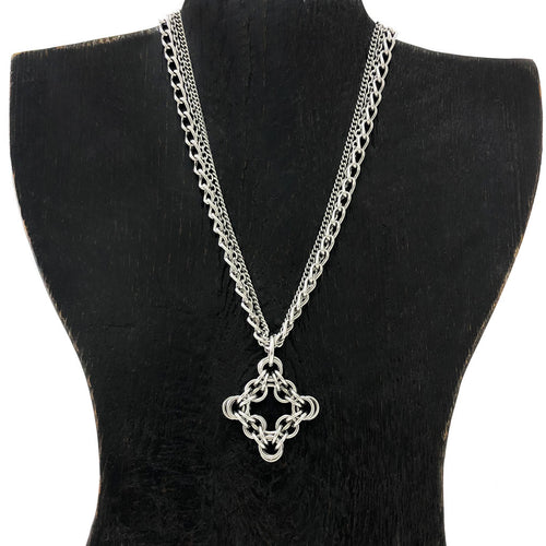 GOTHIC Large Pendant on Multi-Chain Necklace