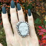 GEMSTONE Howlite Skull Ring: Size 7.5-7.75