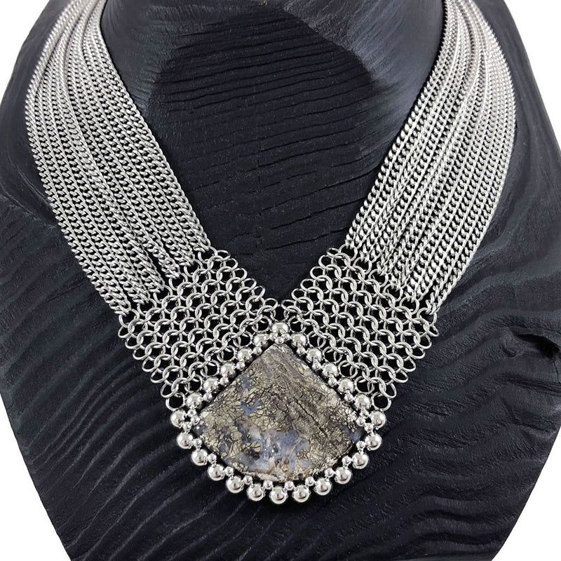 GEMSTONE Indonesian Marcasite Necklace with Maille & Chain