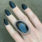 GEMSTONE Iolite Sunstone Large Oval Ring: Size 8
