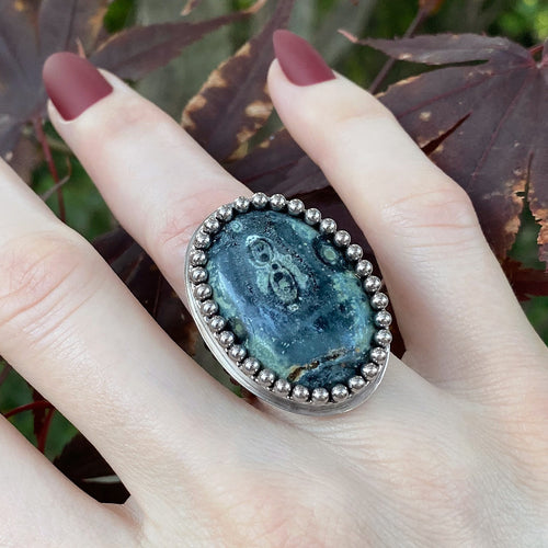 GEMSTONE Oval Kambaba Jasper Ring: Size 7