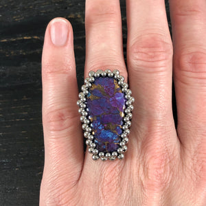 GEMSTONE Kingman Turquoise Coffin Ring: Size 8