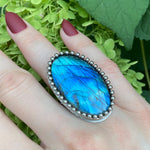 GEMSTONE Large Oval Labradorite Ring: Size 8