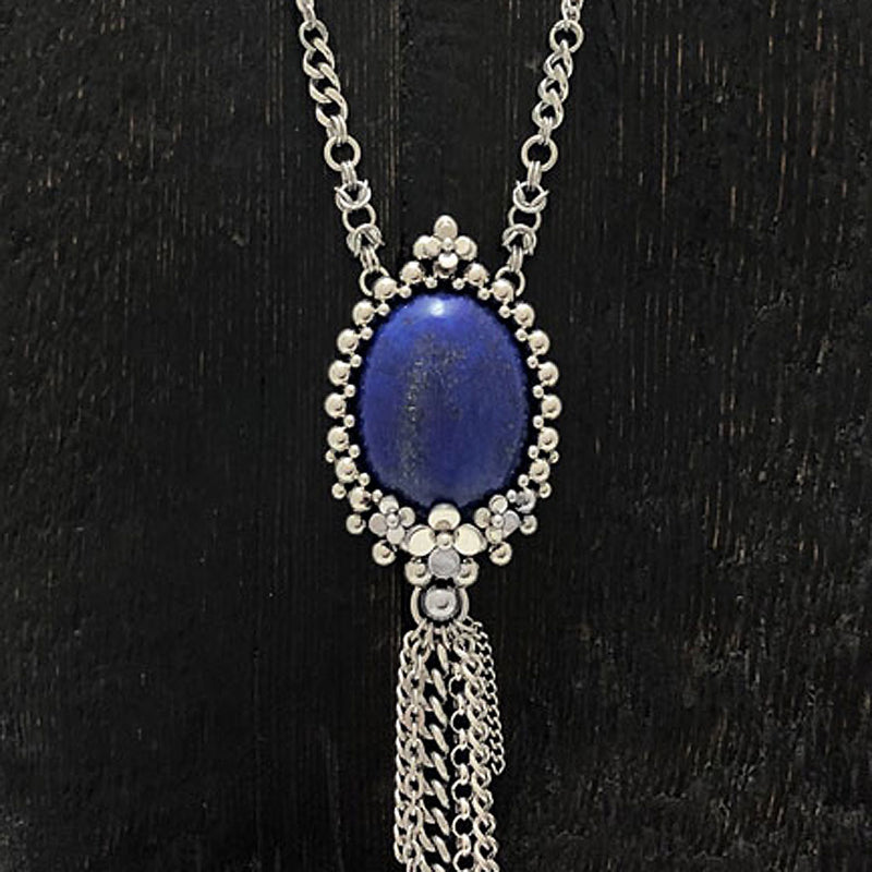 GEMSTONE Oval Lapis with Flowers and Tassel Necklace