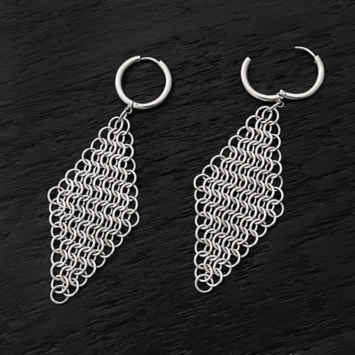 GAUGED Large Chainmaille Diamonds on Hoops