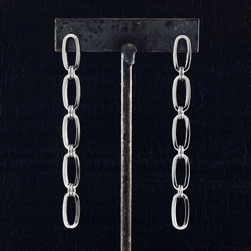 METAL 3 or 5 Oval Link Chain Post Earrings
