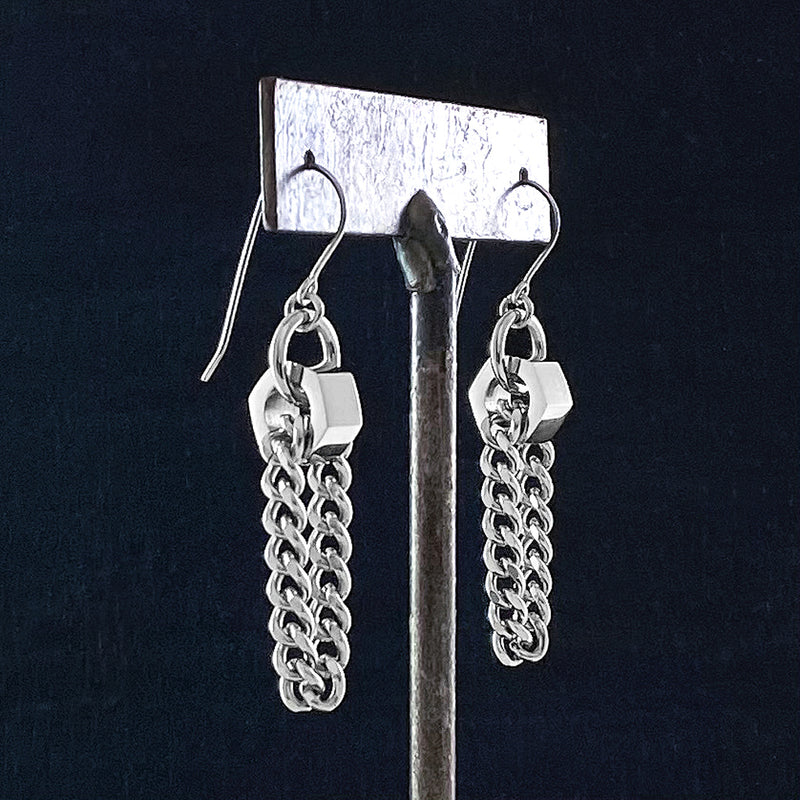 METAL Hex Bead Chain Loop Earrings