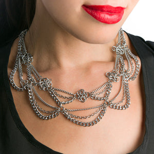 METAL 2 Tier Draping Chain and Rosettes Necklace