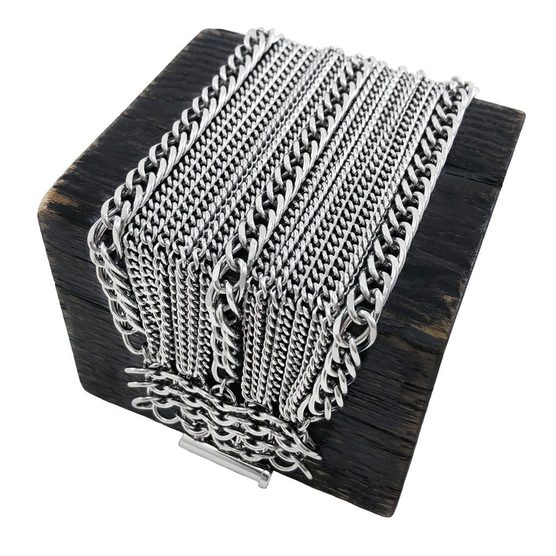 METAL 6-Row Triple-Stripe Ribbon Bracelet