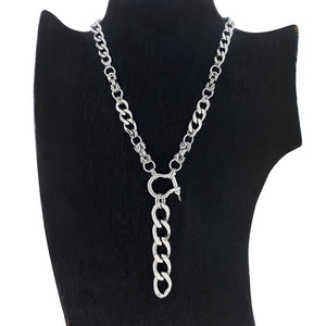 METAL Chunky Curb Y Necklace with Screw Pin D-Ring