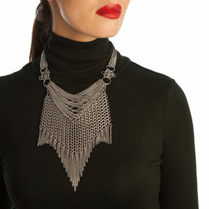 METAL Chevron Bib Necklace with Rosettes & Fringe