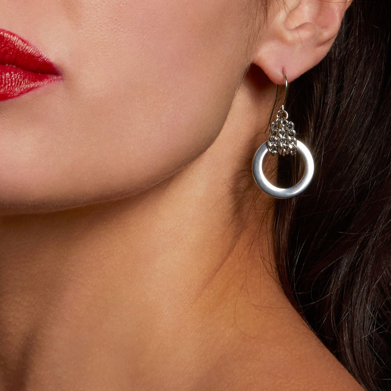METAL Chain-Wrapped Flat Link Earrings