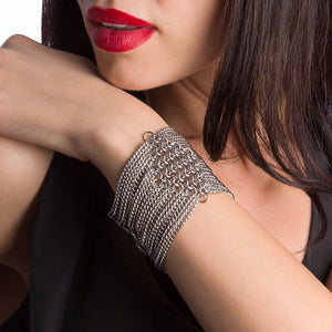 METAL Diamond and Chain Cuff