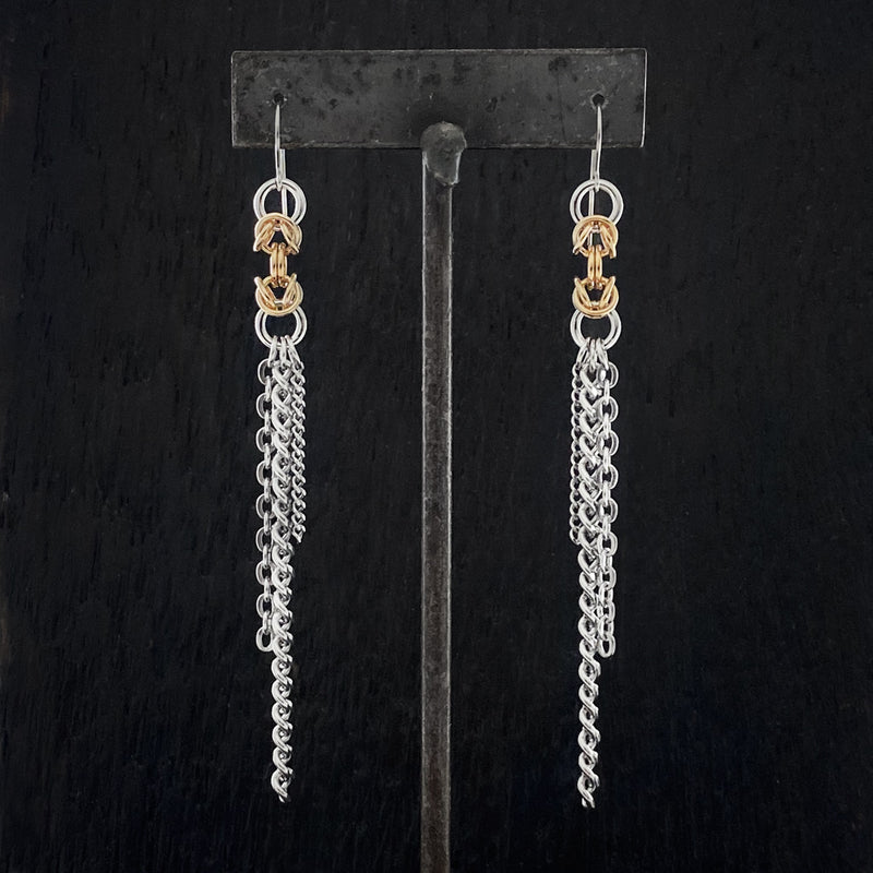 METAL Long Chainmaille Byzantine Tassel Earrings